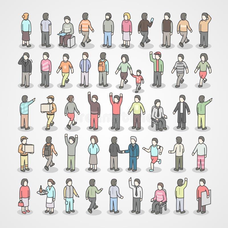 Grote inzameling van verschillende mensen De reeks van stelt royalty-vrije illustratie