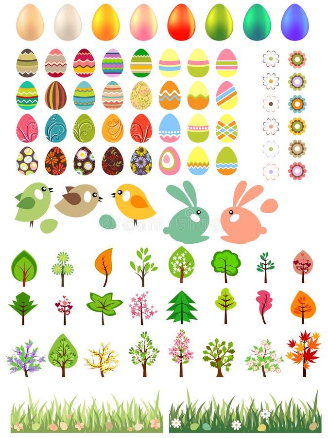 Grote inzameling van verschillende paaseieren en bomen stock illustratie