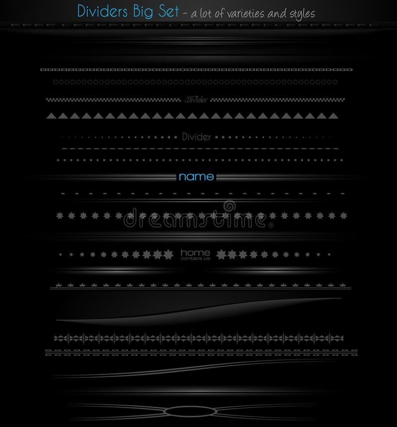 Grote inzameling van Webverdelers voor Webtoepassingen. vector illustratie