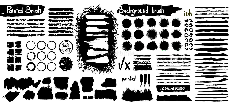 Grote inzameling van zwarte verf, de slagen van de inktborstel, borstels, grungy lijnen, Vuile artistieke ontwerpelementen, dozen stock afbeeldingen