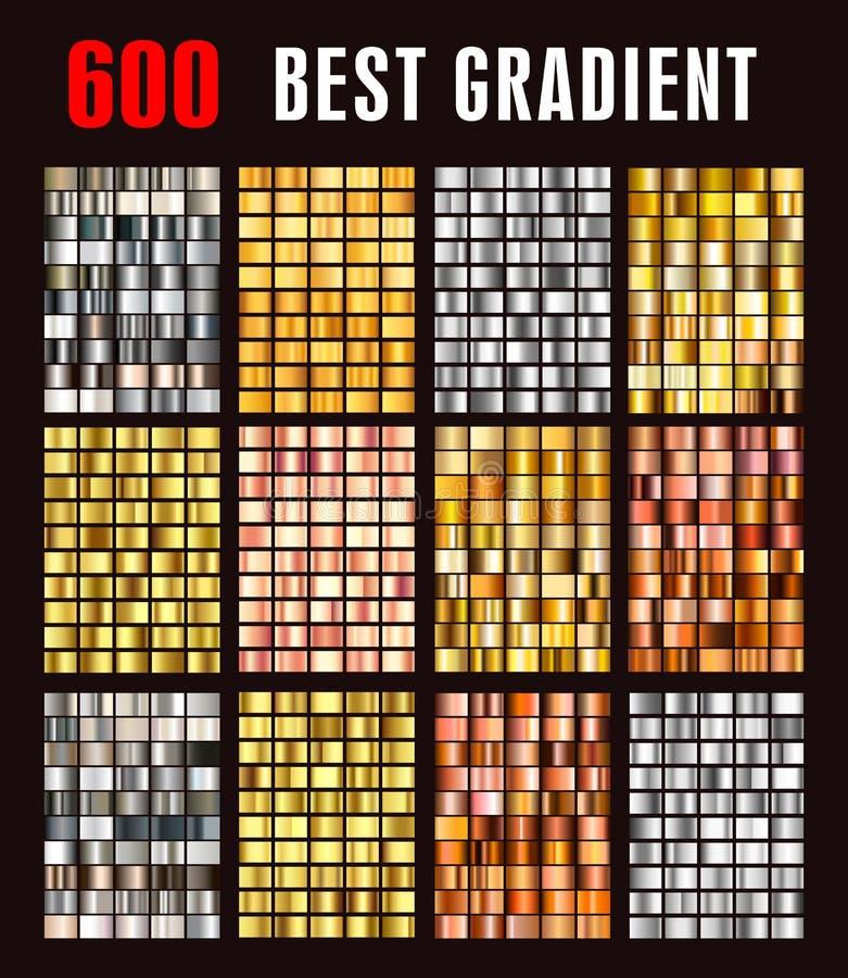 Grote inzamelings kleurrijke metaalgradiënten stock illustratie