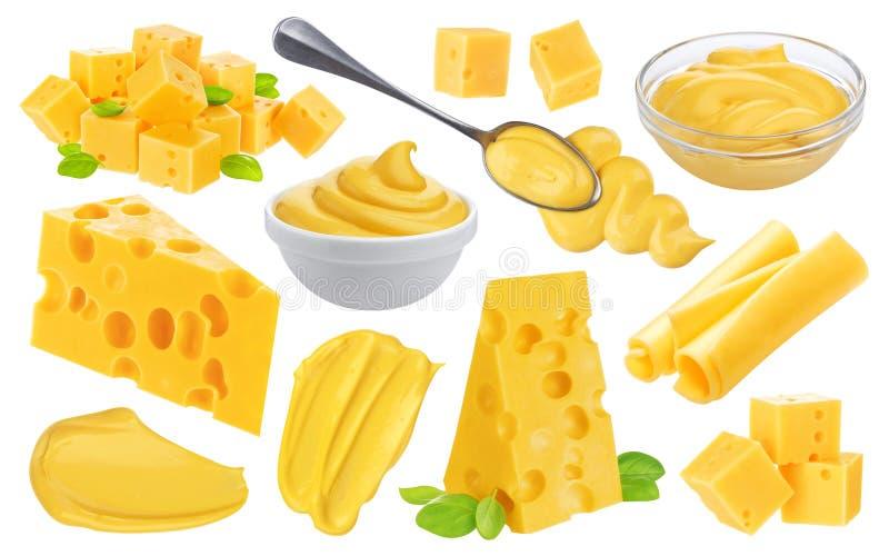 Grote kaasinzameling Verschillende die stukken van kaas, kaassaus op witte achtergrond wordt geïsoleerd stock fotografie