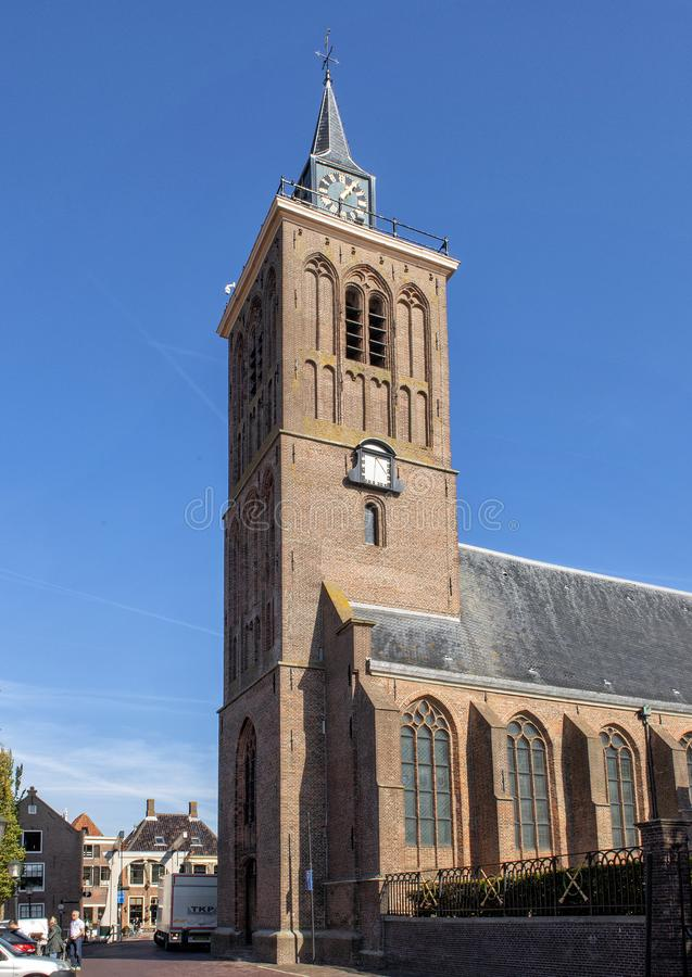 Grote Kerk, eine Protestantische Kirche in Transplantation-De Rijp, die Niederlande lizenzfreie stockfotografie