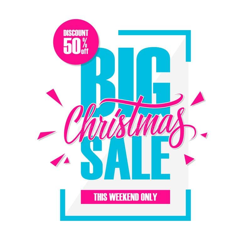 Grote Kerstmisverkoop Speciale aanbiedingbanner met met de hand geschreven weg element, korting tot 50% vector illustratie