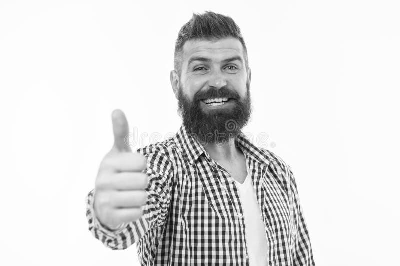 Grote keus De mens gebaarde hipster adviseert of iets goedkeurt isoleerde witte achtergrond Waardeer uw keus stock foto's