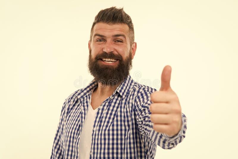 Grote keus De mens gebaarde hipster adviseert of iets goedkeurt isoleerde witte achtergrond Waardeer uw keus stock afbeeldingen