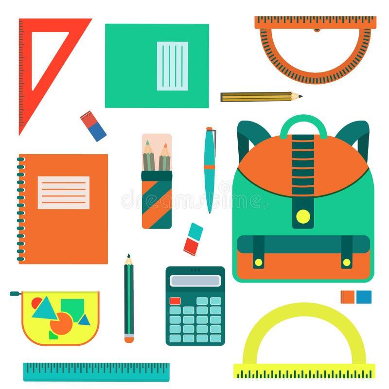 Grote kleur vlak terug naar schoolbehoeftenreeks stock illustratie