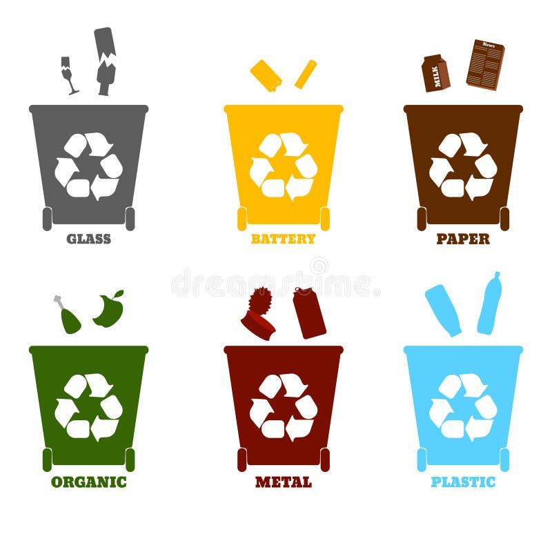 Grote kleurrijke containers voor recyclingsafval het sorteren - plastiek, g vector illustratie