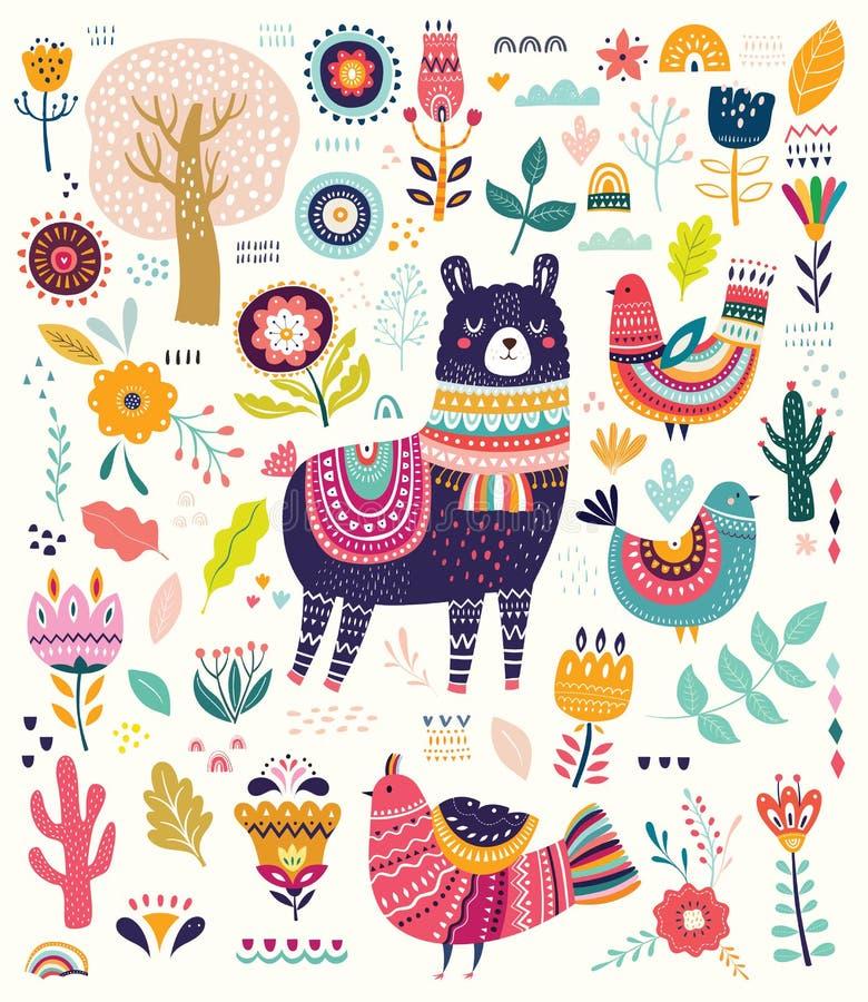 Grote kleurrijke reeks met lama, bloemen, vogels en etnische ontwerpelementen stock illustratie