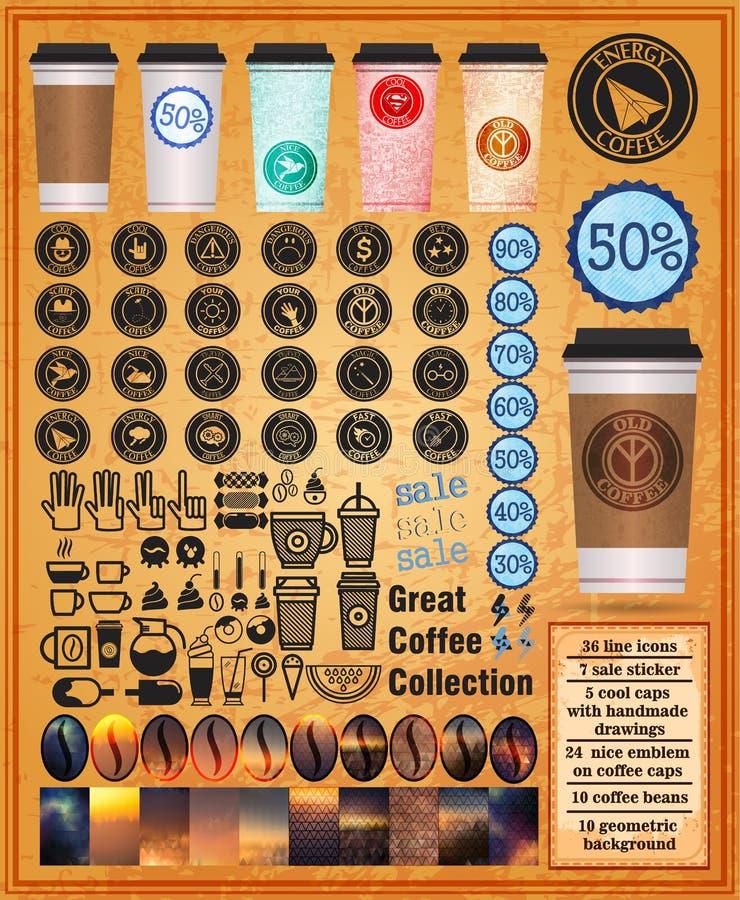 Grote koffieinzameling met koppenkoffie stock fotografie