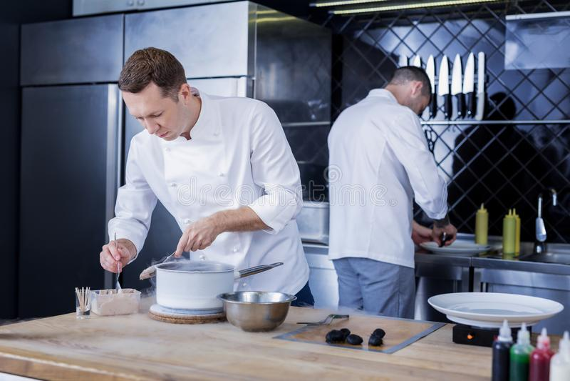 Grote koks die in de keuken samenwerken stock foto's