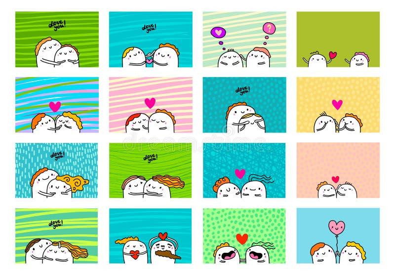 Grote liefdereeks, kaartenaffiches voor de dag van de valentijnskaart Gelukkige paren samen Zoete hand getrokken illustraties stock afbeeldingen