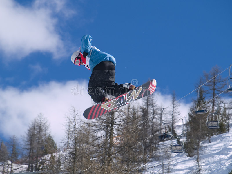 Grote lucht snowboard royalty-vrije stock foto's