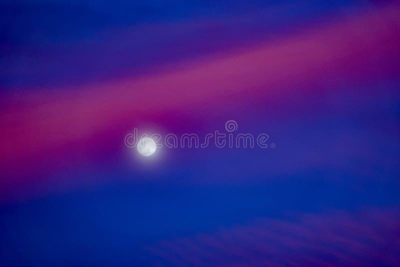 Grote maan in een blauwe skyover het overzees in het natuurreservaat in het Las Palmas Spanje van Corralejo Fuerteventura stock foto's