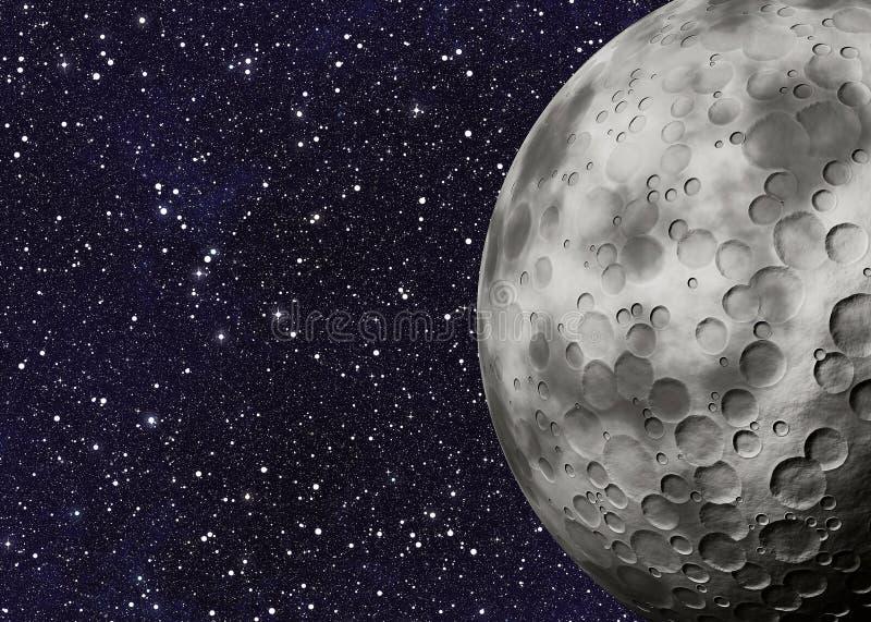 Grote maan met kraters op ruimteachtergronden royalty-vrije stock afbeeldingen