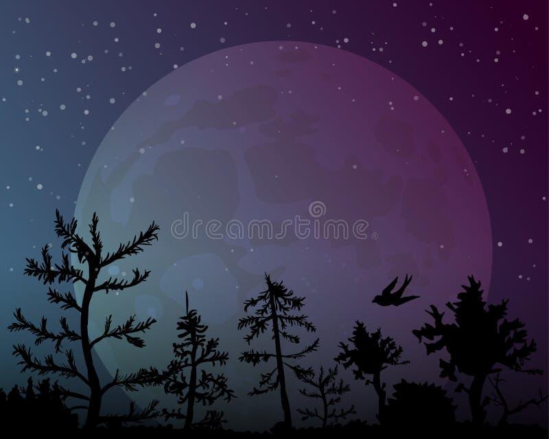 Grote maan op de achtergrond van de nachthemel royalty-vrije illustratie