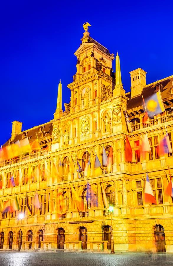 Grote Markt in Antwerp, Belgium stock images