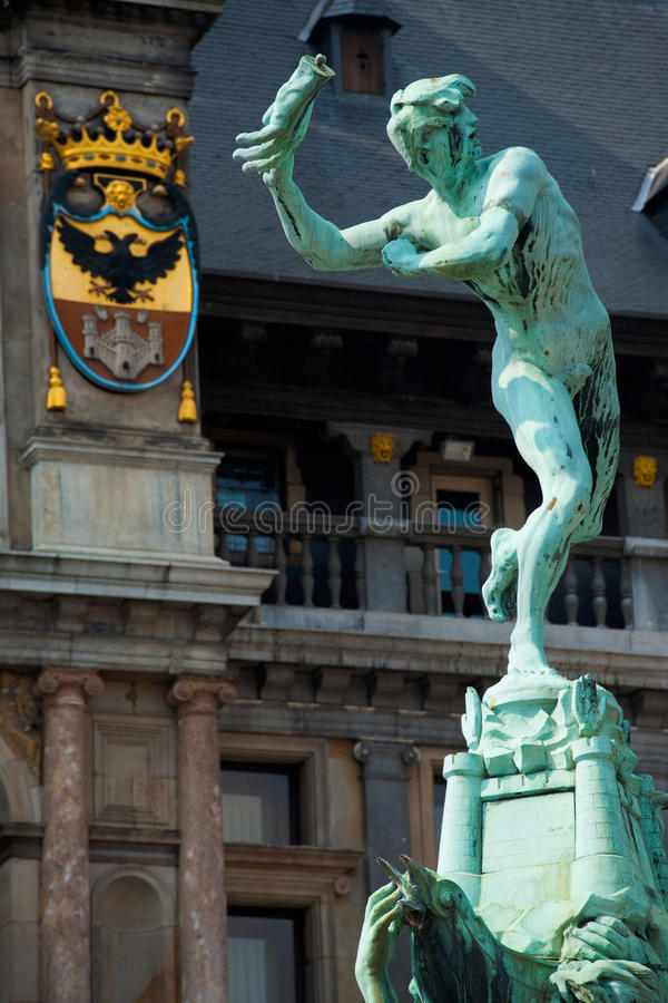 Grote Markt Antwerp Brabo Statue Close stock photography