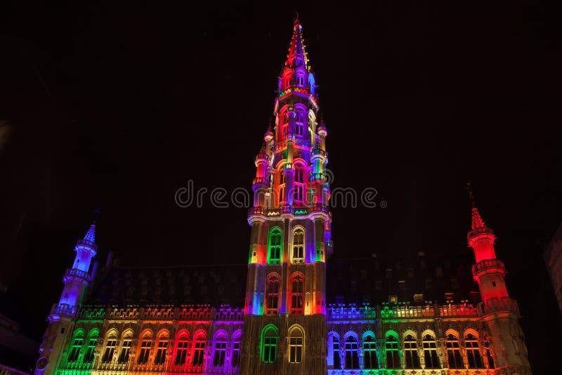 Grote Markt - den huvudsakliga fyrkanten och stadshuset av Bryssel royaltyfri bild