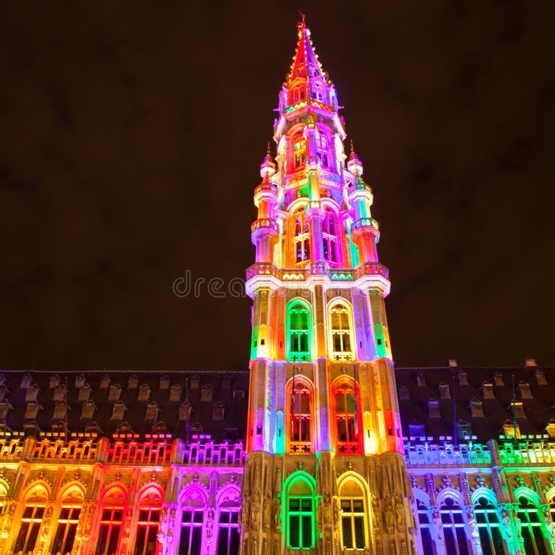 Grote Markt - den huvudsakliga fyrkanten och stadshuset av Bryssel arkivbild