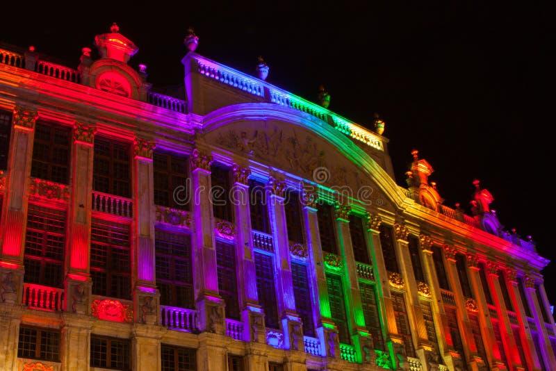 Grote Markt - den huvudsakliga fyrkanten och stadshuset av Bryssel royaltyfri foto