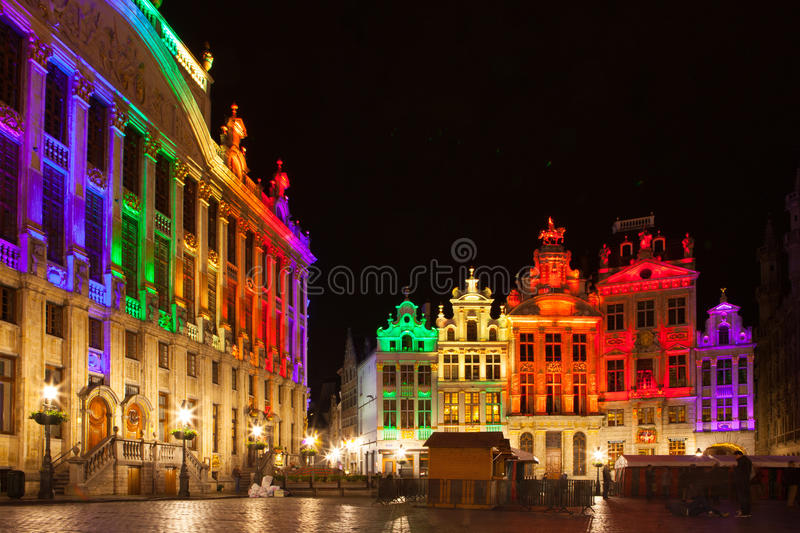 Grote Markt - The main square and Town hall of Brussels. Belgium royalty free stock photos