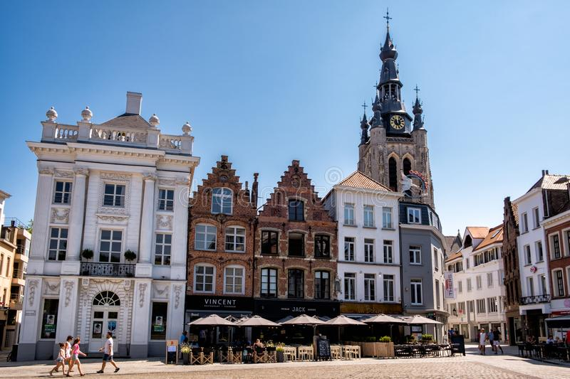 The Grote Markt square in Kortrijk, Flanders, Belgium, Europe. Kortrijk, Flanders, Belgium - JULY 1, 2018 : Some stepped gables at the Grote Markt square in the royalty free stock images