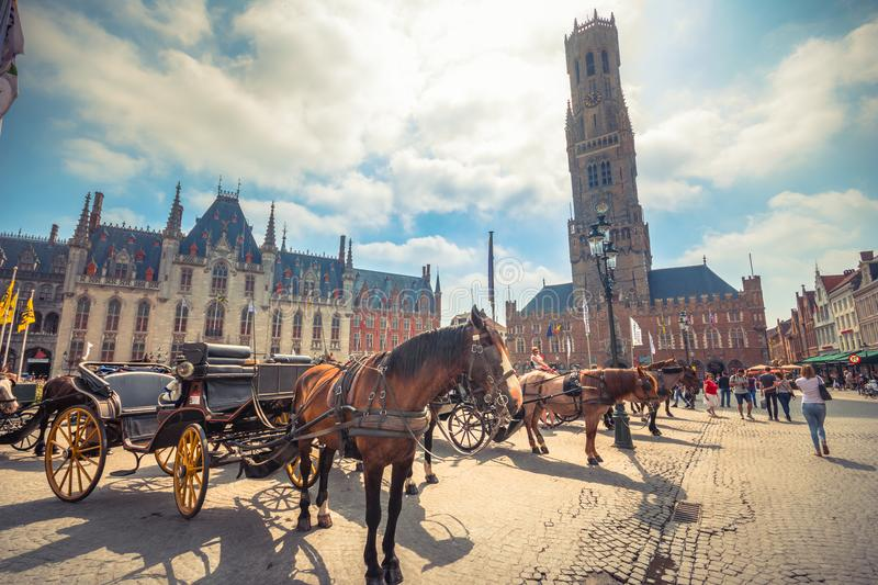 Grote Markt square in medieval city Brugge at morning, Belgium. royalty free stock photography