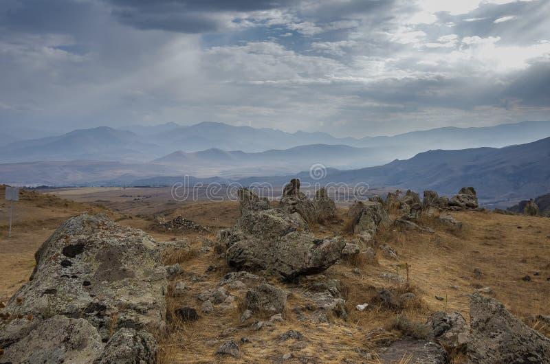 Grote megalitische menhirs van Zorats Karer (Carahunge) - voorgeschiedenis royalty-vrije stock afbeeldingen