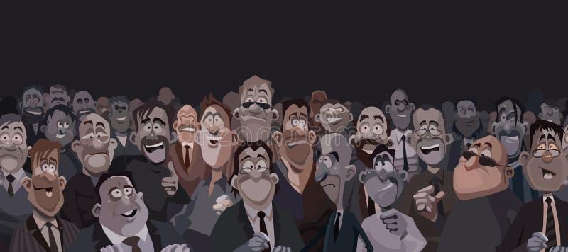 Grote menigte van grappige beeldverhaalmensen in een donkere ruimte stock afbeeldingen
