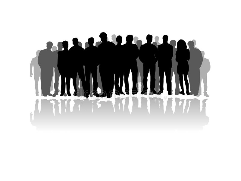 Grote menigte van mensensilhouet vector illustratie