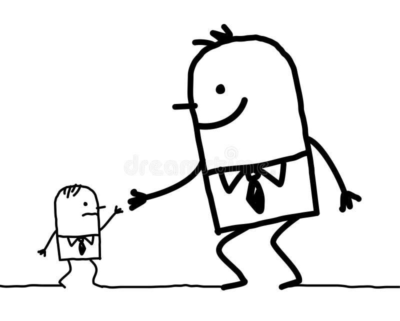 Grote mens die hulp geeft aan kleine  stock illustratie