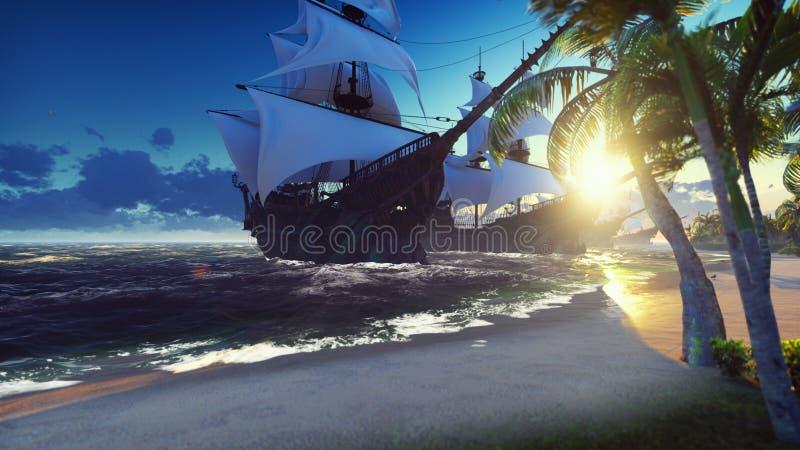 Grote middeleeuwse schepen op zee bij zonsopgang Oude middeleeuwse schepen die dichtbij een woestijn tropisch eiland worden vastg vector illustratie