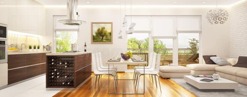Grote moderne die keuken met een woonkamer met grote vensters wordt gecombineerd stock afbeelding