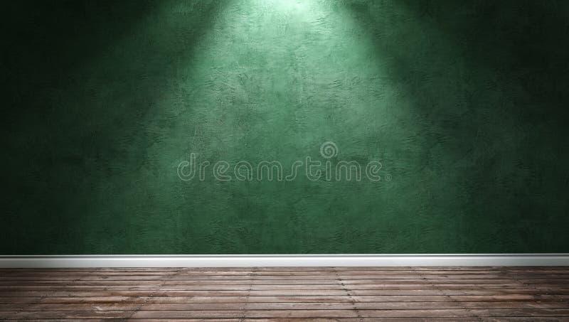 Grote moderne ruimte met groene pleistermuur en richtinglicht royalty-vrije stock foto's