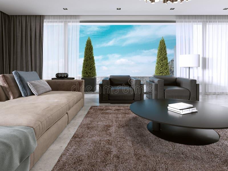 Grote moderne woonkameropen plek in een moderne stijl stock illustratie
