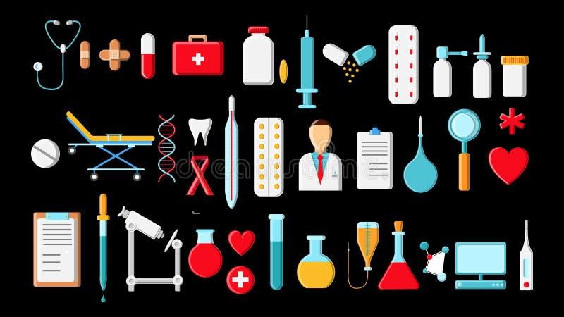 Grote mooie heldere gekleurde reeks medische punten en hulpmiddelen in een apotheek of een spreekkamer, de spuitenflessen van the vector illustratie