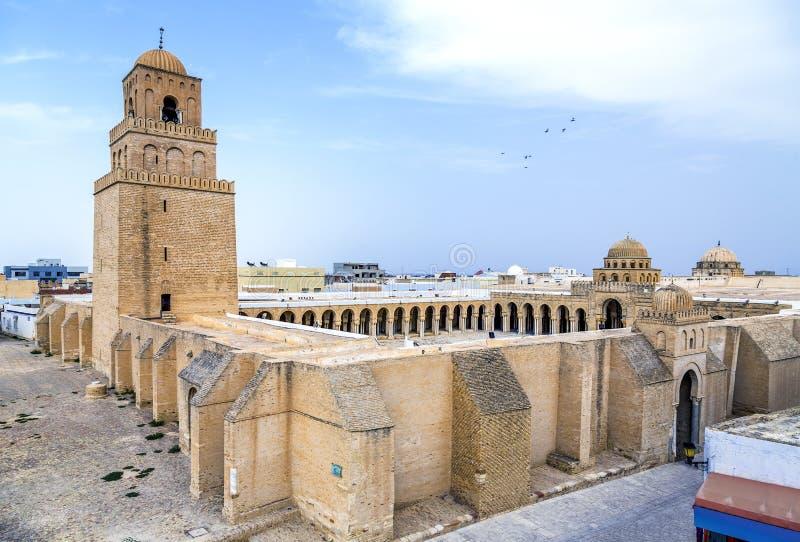 Grote Moskee van Kairouan, Tunesië stock foto's