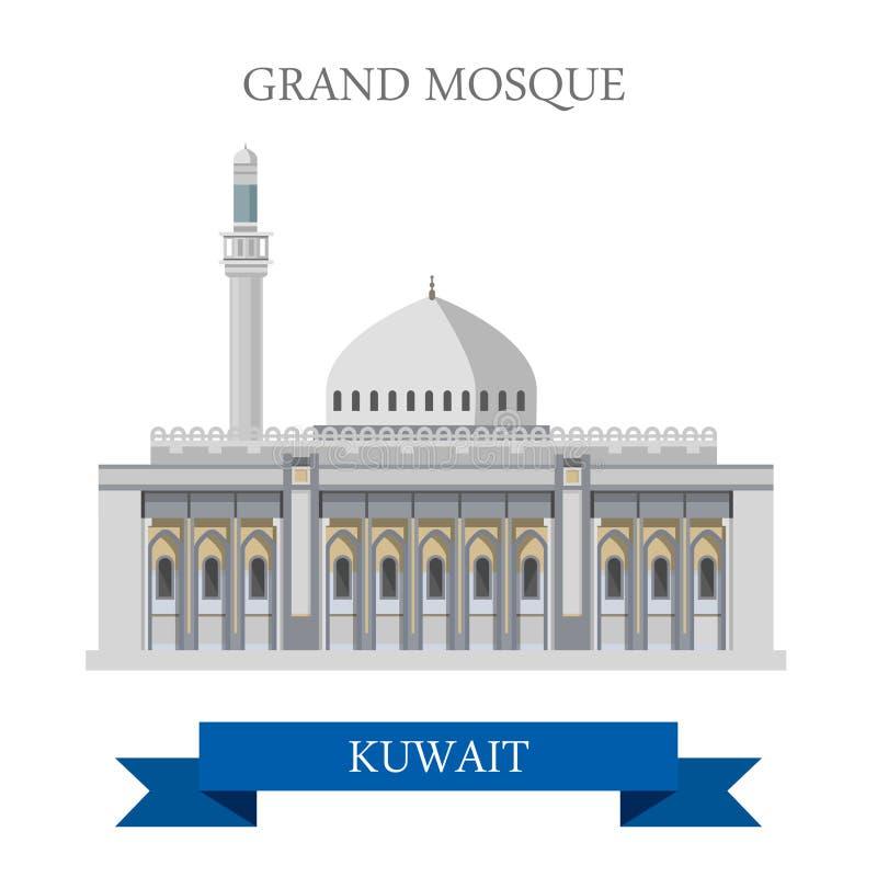 Grote Moskee in vector vlakke de aantrekkelijkheidsoriëntatiepunten van Koeweit stock illustratie