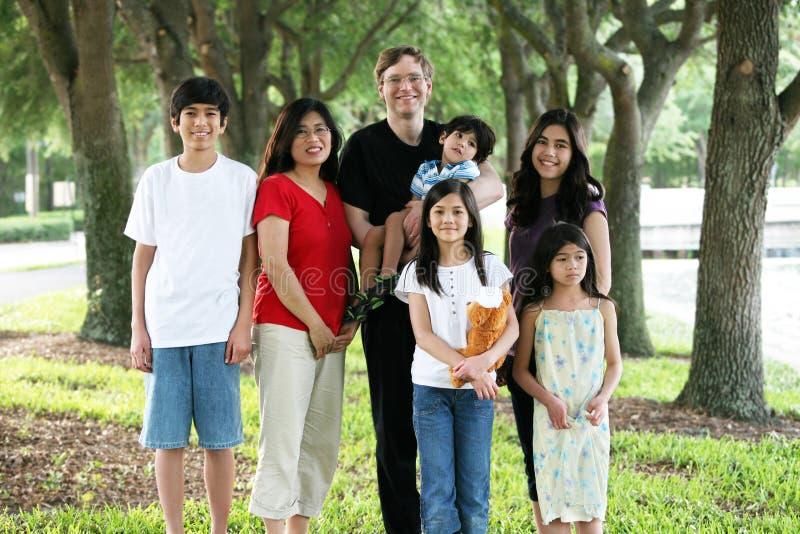 Grote multiraciale familie van zeven royalty-vrije stock afbeeldingen