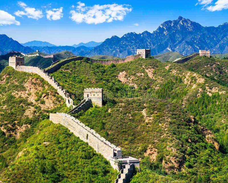 Grote Muur van China op de zomer zonnige dag, Jinshanling, Peking royalty-vrije stock foto