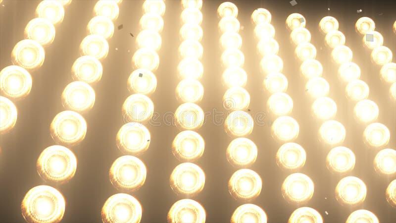 GROTE Muurlichten en Dalende glanzende gouden confettien voor partij, manier, de videobevorderingen van de dansclub, 3d animatie stock fotografie
