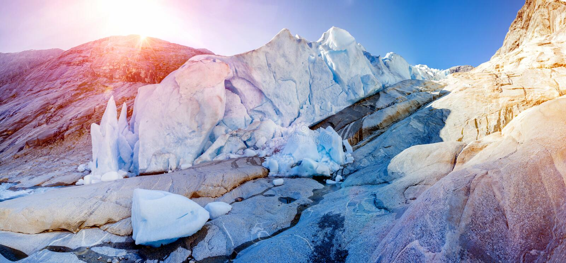 Grote Nigardsbreen, Jostedal-Gletsjer, Noorwegen in Europa royalty-vrije stock afbeelding