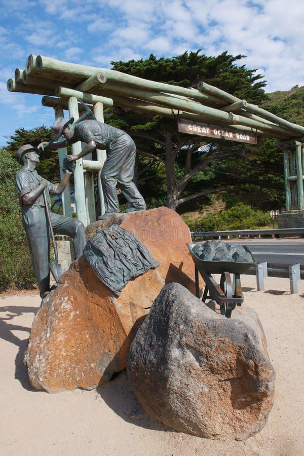 Grote Oceaanweg Herdenkingsboog en Standbeelden stock foto's