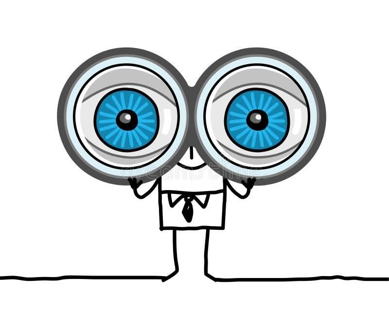 grote ogen en verrekijkers stock illustratie