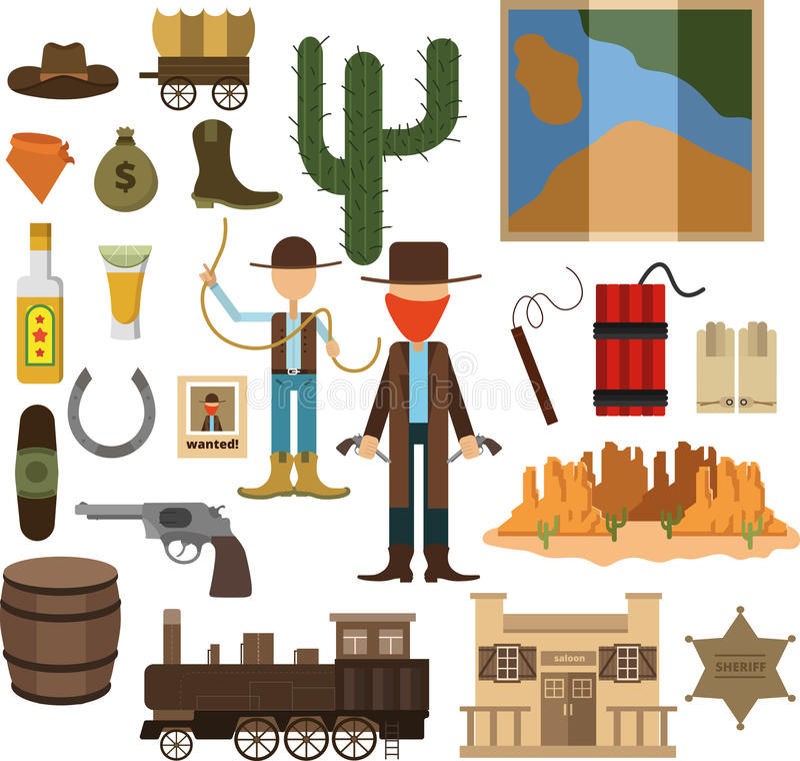 Grote ontworpen reeks van het wilde westen vector illustratie