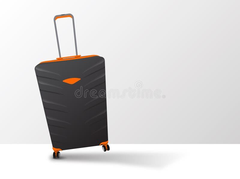 Grote Oranje en Zwarte Koffer op Wielen met Telescopisch Handvat stock afbeeldingen