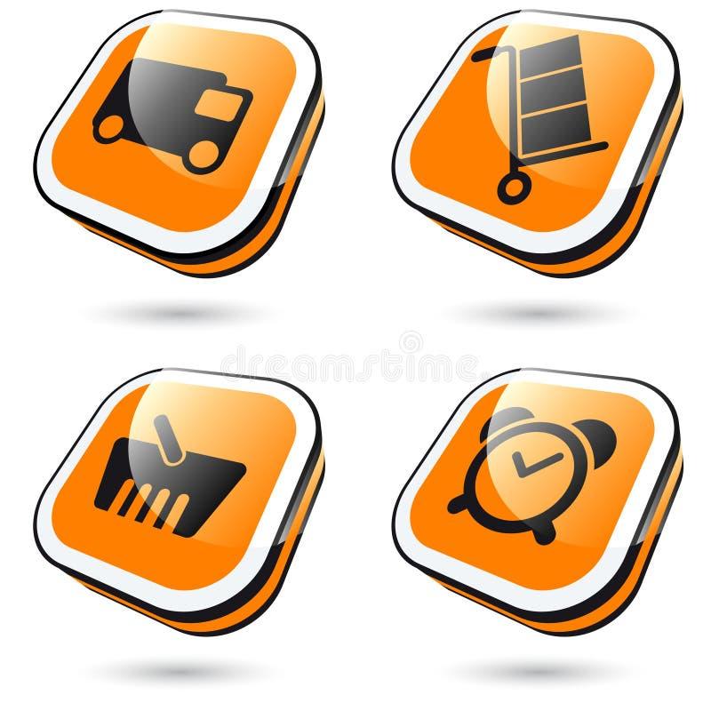 Grote oranje pictogrammen stock illustratie