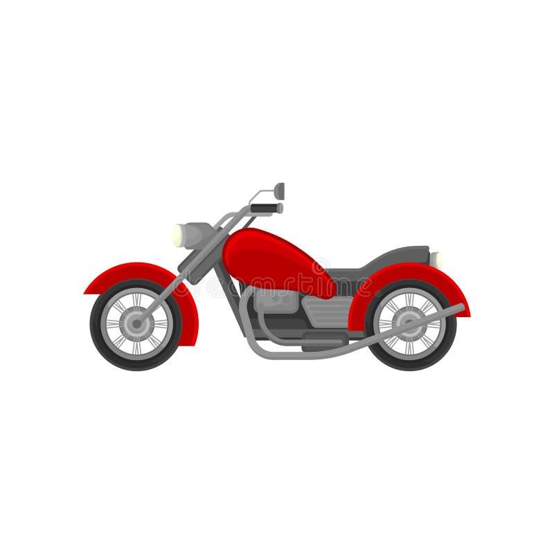 Grote oud-schoolmotorfiets, zijaanzicht Rode uitstekende motor Vlak vectorelement voor de reclame van affiche of banner royalty-vrije illustratie