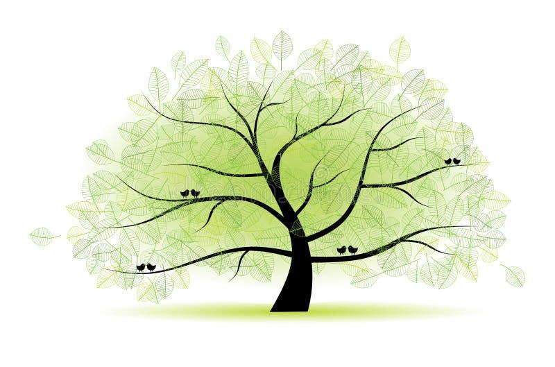 Grote oude boom voor uw ontwerp royalty-vrije illustratie